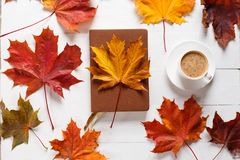 The concept of autumn mood. Morning coffee, diary and colored maple leaves. Top view. The concept of autumn mood. Morning coffee, diary and colored maple leaves Stock Photos