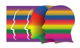 Concept avec des profils humains colorés Photo stock