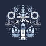 Concept avec des symboles de mer illustration stock