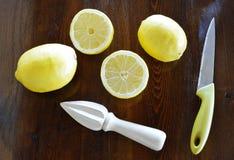 Concept avec les citrons et le presse-fruits de citron Images libres de droits