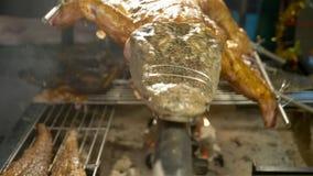 Concept Aziatische keuken Een kleine alligator rekte zich op een spit uit dat over een kampvuur wordt geroosterd stock video
