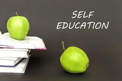 Text self education, two green apples, open books with concept. Concept back to school, text self education, two green apples, open books on gray background Stock Photo