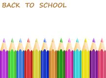 Concept back to school with white apper and colorful pencils, st. Ock vector illustration Stock Photos