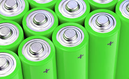 Concept background of green batteries Stock Image