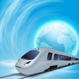Concept background with high-speed train and the globe. Royalty Free Stock Photos