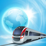 Concept background with high-speed train. Stock Images