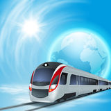 Concept background with high-speed train. Royalty Free Stock Images
