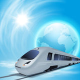 Concept background with high-speed train, the globe and sun. Stock Image