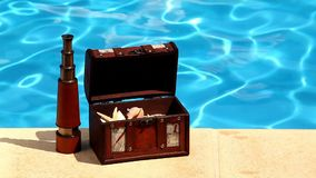 Concept background summer pool, trunk filled with shells stock video