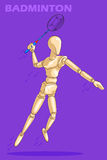 Concept of Badminton with wooden human mannequin Stock Image