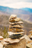 Concept of balance and harmony. rocks on the coast in the nature.  Stock Image