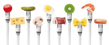 Presentation of different food products planted on a fork vector illustration