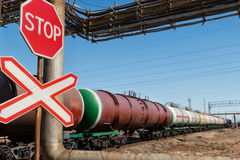 Concept : a ban on transporting oil by rail Stock Images