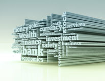 Concept of banking and finance. Word cloud with terms about banking and finance 3d render Stock Photography