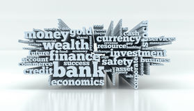 Concept of banking and finance. Word cloud with terms about banking and finance 3d render Royalty Free Stock Images
