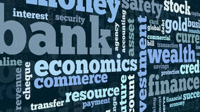 Concept of banking and finance. Word cloud with terms about banking and finance, flat style Royalty Free Stock Photography