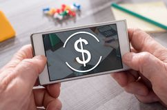 Concept of banking. Banking concept on mobile phone stock photo