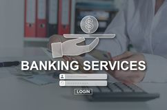 Concept of banking services. Banking services concept illustrated by a picture on background royalty free stock photography