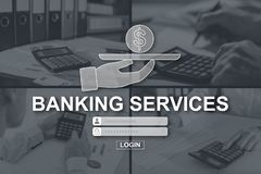 Concept of banking services. Banking services concept illustrated by pictures on background royalty free stock photos