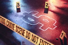 Concept of bankruptcy with a crime scene. Photo of a fresh crime scene with money as a victim royalty free stock photo