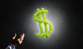 Concept bankwezen en investering door groen dollarsymbool wordt voorgesteld op concrete achtergrond die Royalty-vrije Stock Foto