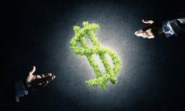 Concept bankwezen en investering door groene dollar wordt voorgesteld die symb Stock Foto