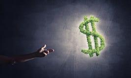 Concept bankwezen en investering door groene dollar wordt voorgesteld die symb Royalty-vrije Stock Foto's