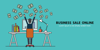 Concept banner business people earning for sale online Stock Images