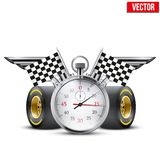 Concept banner Car racing and championship. Stopwatch and tubes in form wings. Editable Vector Illustration Stock Photo