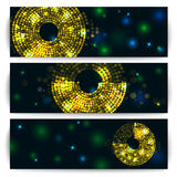 Concept of banner, flyer with abstract gold disco. Lights frameю Vector illustration Royalty Free Stock Images