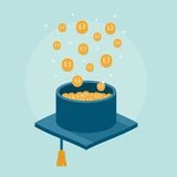 Concept banner of graduation cap filled with money Stock Photos