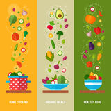 Concept banners with flat vegetable icons Royalty Free Stock Photos