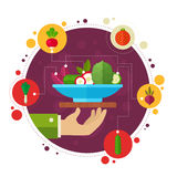 Concept banners with flat vegetable icons Royalty Free Stock Photo