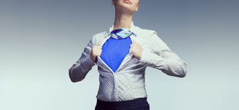 Concept of be super in business . Mixed media Royalty Free Stock Photography