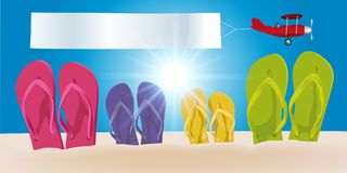 Holiday concept with flip flops of a family planted in the sand and a plane pulling a banner. vector illustration