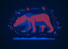 Bear Market. Concept of bearish in stock market exchange, shape of bear combined with candlesticks and business finance icons vector illustration