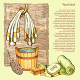 The concept of beauty and health, sauna services. Individual bath accessories, items for face and body care. Rejuvenation. Culture symbols of purity on wooden Royalty Free Stock Image