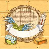 The concept of beauty and health, sauna services. Individual bath accessories, items for face and body care. Rejuvenation. Culture symbols of purity. Place for Stock Image