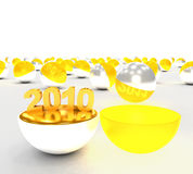 Concept begin of 2010 year. Digit 2010 in a open white ball stock illustration