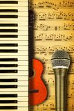 Concept behind the music relating to the score with notes. Concept behind the music, keys relating to notes Stock Image