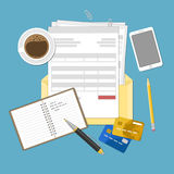 Concept belastingsbetaling en rekening Stock Foto