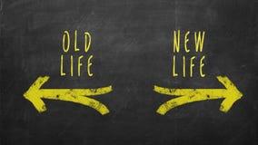 Concept bien choisi La vieille vie contre la nouvelle vie photo stock
