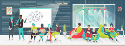 Concept of big art space. Art people work together in coworking place. Business meeting. Multicultural team. Art office. Discussion, presentation, design Stock Image