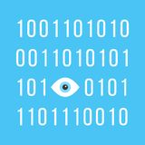 Concept of big brother is watching you with binary Royalty Free Stock Photography