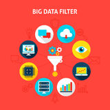 Concept Big Data Filter. Vector Illustration of Business Infographics Circle with Flat Icons Royalty Free Stock Image