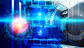 Concept of big data information technology. Servers and cables of modern data center with holograms technological Royalty Free Stock Photos