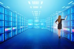The concept of big data management with businesswoman Royalty Free Stock Images
