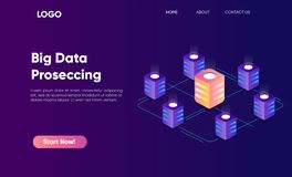 Concept of big data processing in isometric style, cloud data storage, 3d hosting center, maining center. High technology concept royalty free illustration