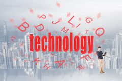 Concept of big data. With text come from a man's digital device Stock Images