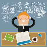 Concept of big dreams. Business man dreaming. Concept of big dreams Stock Images